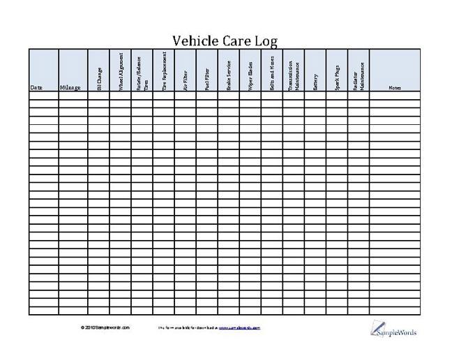 vehicle care log