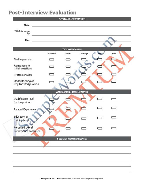Premium Post Interview Form - PDF